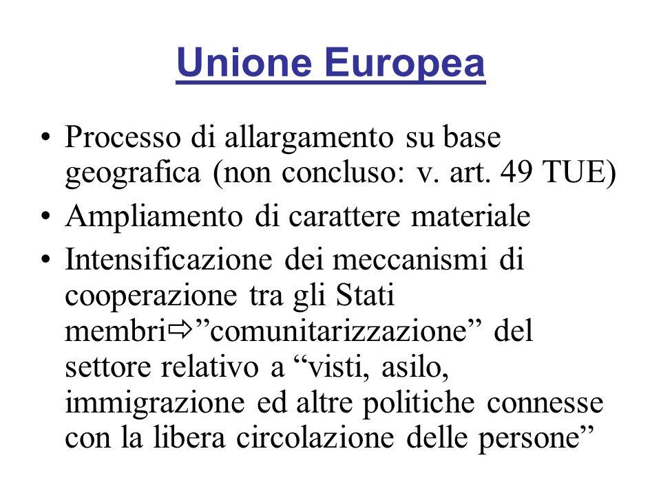 Unione Europea Processo di allargamento su base geografica (non concluso: v. art. 49 TUE) Ampliamento di carattere materiale Intensificazione dei mecc