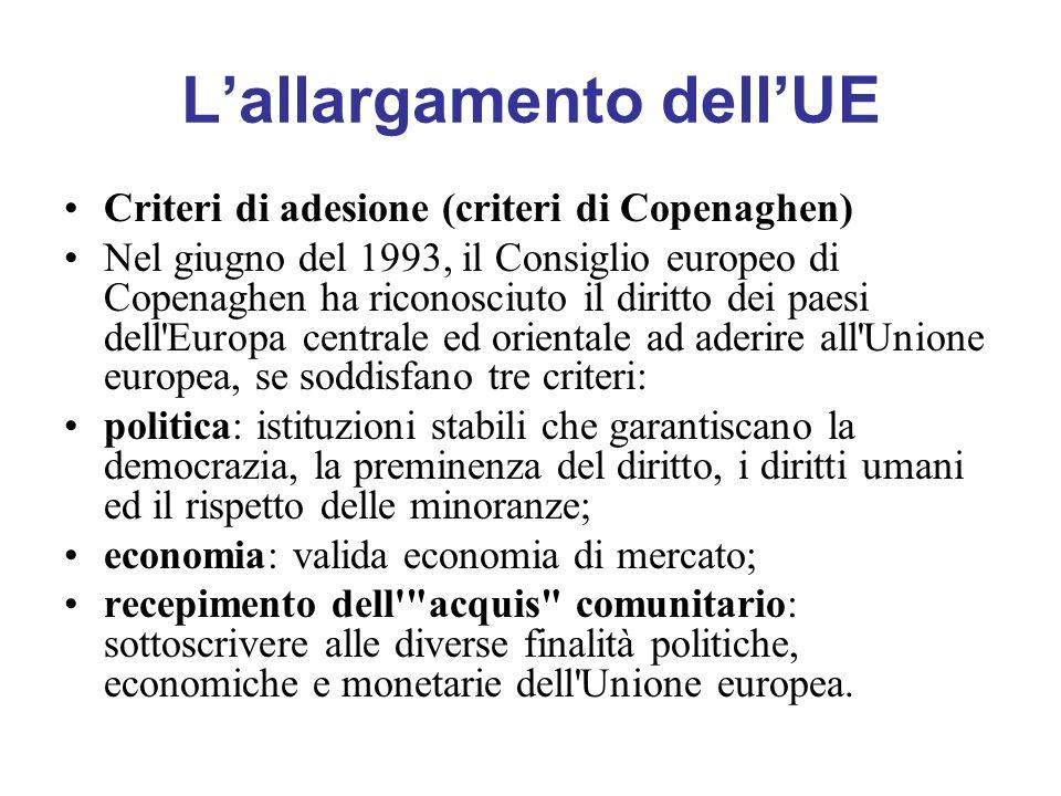 Lallargamento dellUE Criteri di adesione (criteri di Copenaghen) Nel giugno del 1993, il Consiglio europeo di Copenaghen ha riconosciuto il diritto de