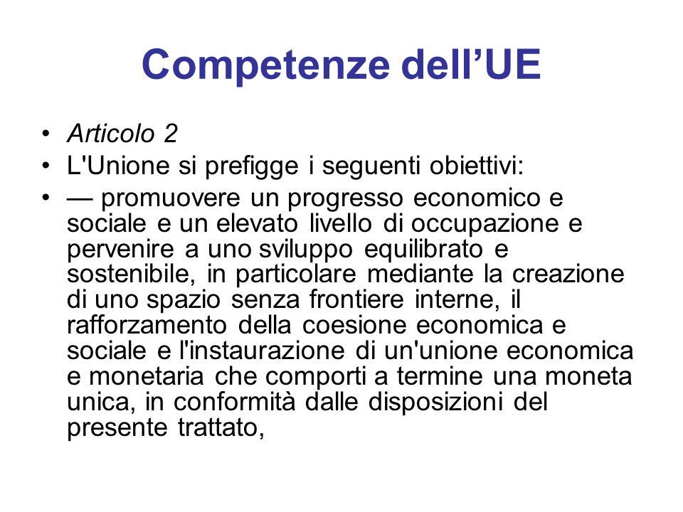 Competenze dellUE Articolo 2 L'Unione si prefigge i seguenti obiettivi: promuovere un progresso economico e sociale e un elevato livello di occupazion