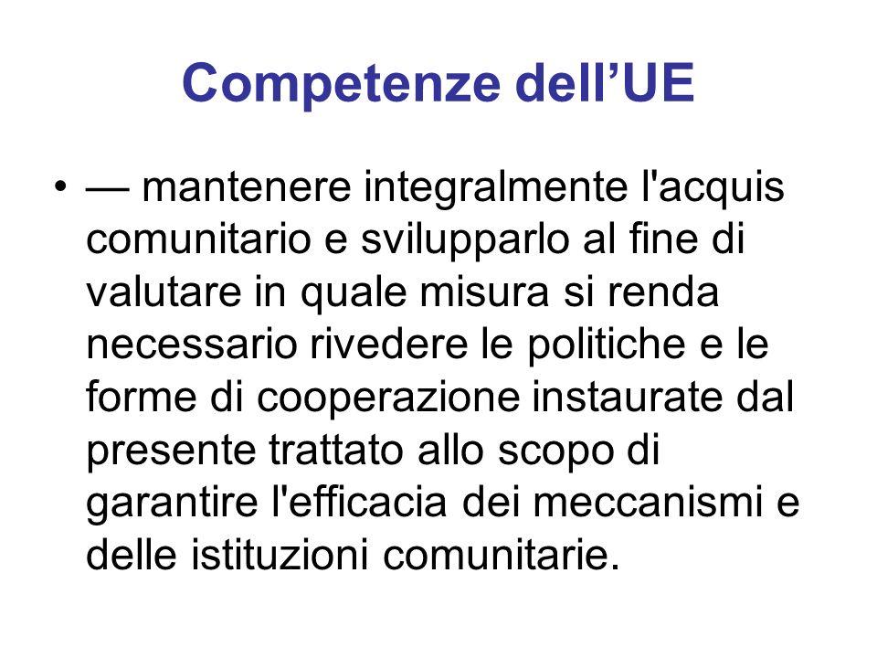 Competenze dellUE mantenere integralmente l acquis comunitario e svilupparlo al fine di valutare in quale misura si renda necessario rivedere le politiche e le forme di cooperazione instaurate dal presente trattato allo scopo di garantire l efficacia dei meccanismi e delle istituzioni comunitarie.