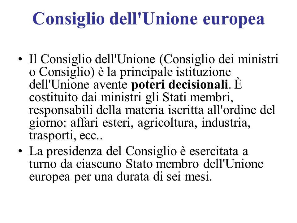 Consiglio dell'Unione europea Il Consiglio dell'Unione (Consiglio dei ministri o Consiglio) è la principale istituzione dell'Unione avente poteri deci