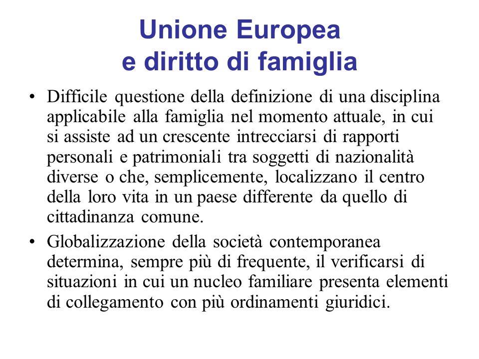 Unione Europea e diritto di famiglia Difficile questione della definizione di una disciplina applicabile alla famiglia nel momento attuale, in cui si
