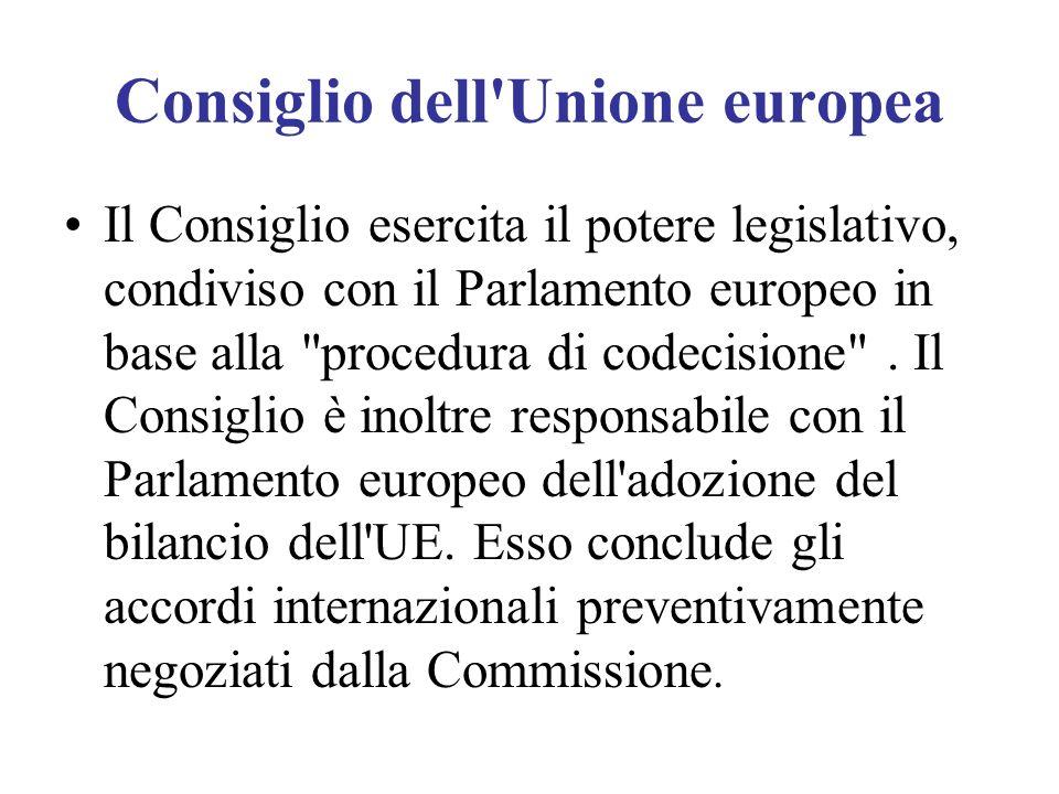 Consiglio dell'Unione europea Il Consiglio esercita il potere legislativo, condiviso con il Parlamento europeo in base alla