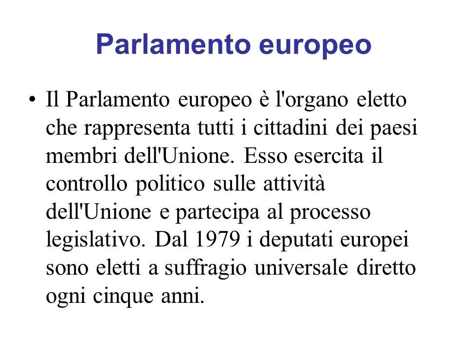 Parlamento europeo Il Parlamento europeo è l'organo eletto che rappresenta tutti i cittadini dei paesi membri dell'Unione. Esso esercita il controllo
