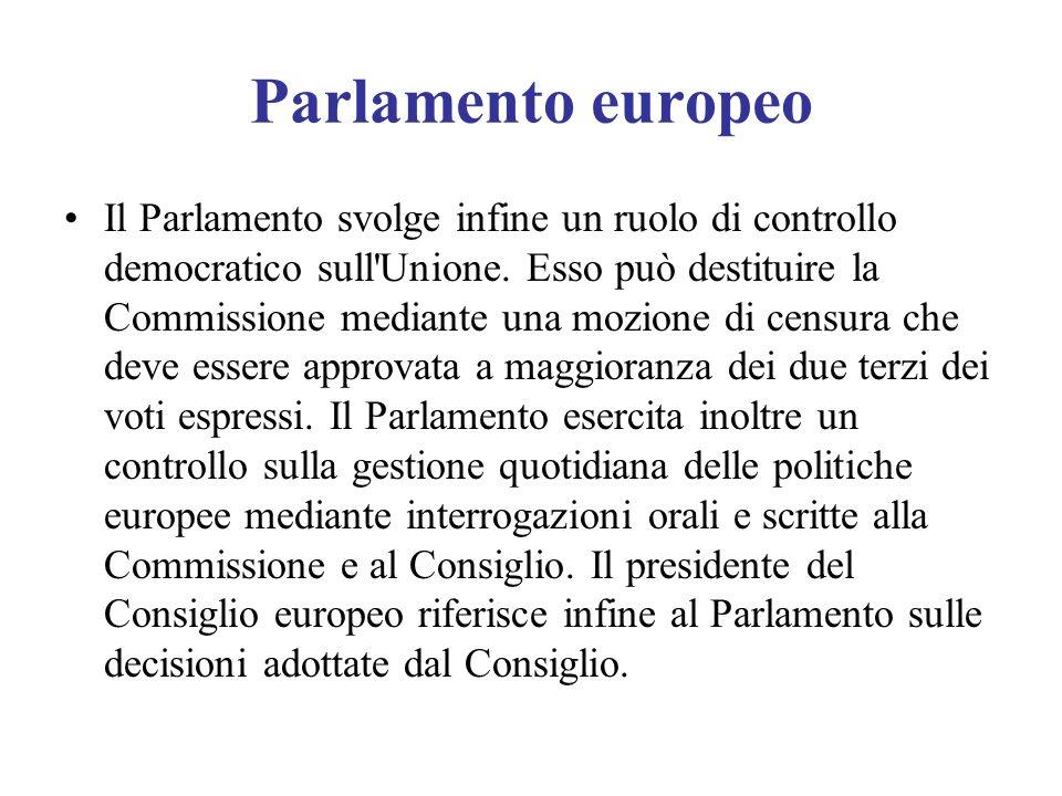 Parlamento europeo Il Parlamento svolge infine un ruolo di controllo democratico sull'Unione. Esso può destituire la Commissione mediante una mozione