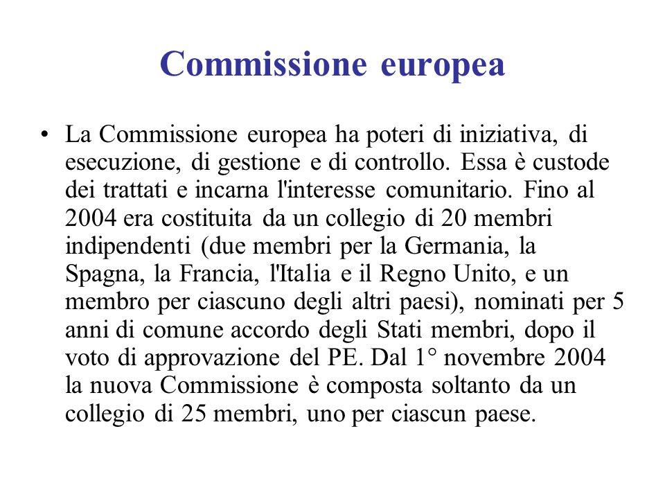 Commissione europea La Commissione europea ha poteri di iniziativa, di esecuzione, di gestione e di controllo. Essa è custode dei trattati e incarna l