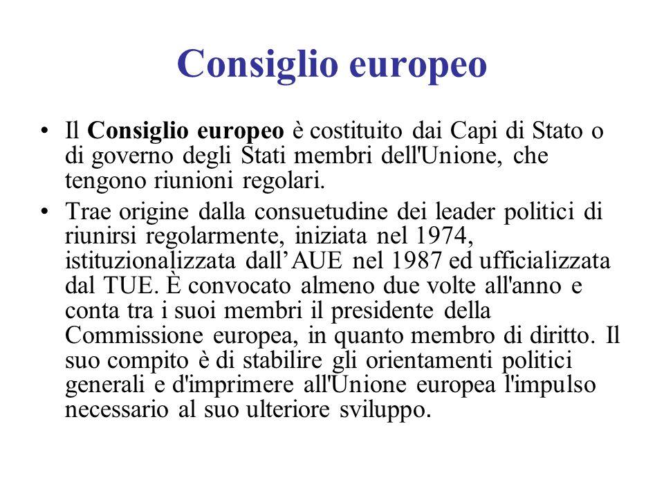 Consiglio europeo Il Consiglio europeo è costituito dai Capi di Stato o di governo degli Stati membri dell'Unione, che tengono riunioni regolari. Trae