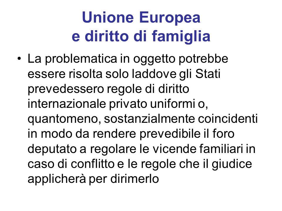 Unione Europea e diritto di famiglia La problematica in oggetto potrebbe essere risolta solo laddove gli Stati prevedessero regole di diritto internaz