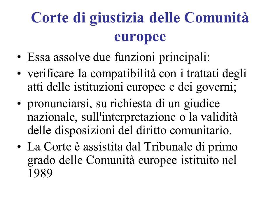 Corte di giustizia delle Comunità europee Essa assolve due funzioni principali: verificare la compatibilità con i trattati degli atti delle istituzion