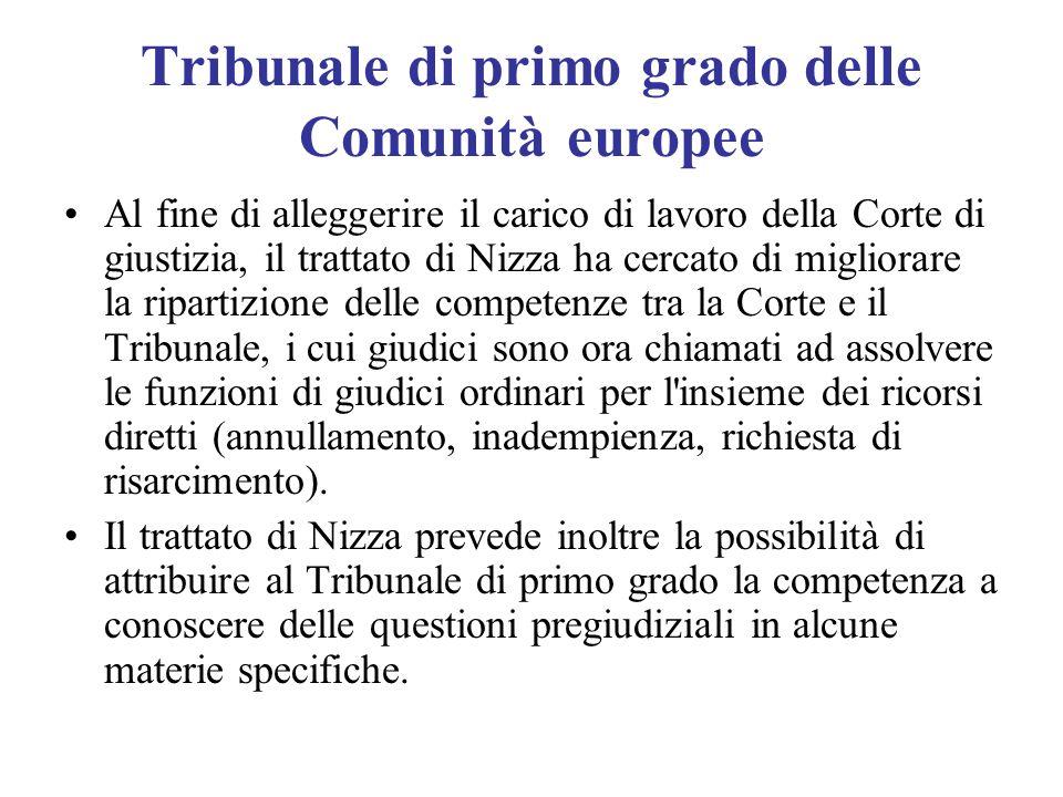 Tribunale di primo grado delle Comunità europee Al fine di alleggerire il carico di lavoro della Corte di giustizia, il trattato di Nizza ha cercato d