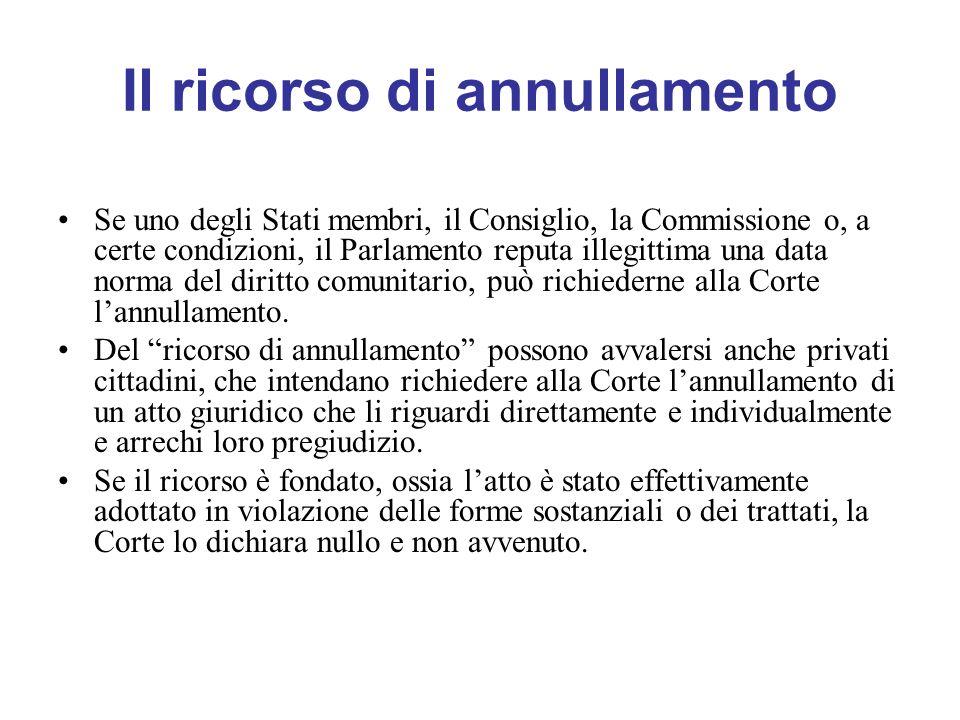 Il ricorso di annullamento Se uno degli Stati membri, il Consiglio, la Commissione o, a certe condizioni, il Parlamento reputa illegittima una data norma del diritto comunitario, può richiederne alla Corte lannullamento.