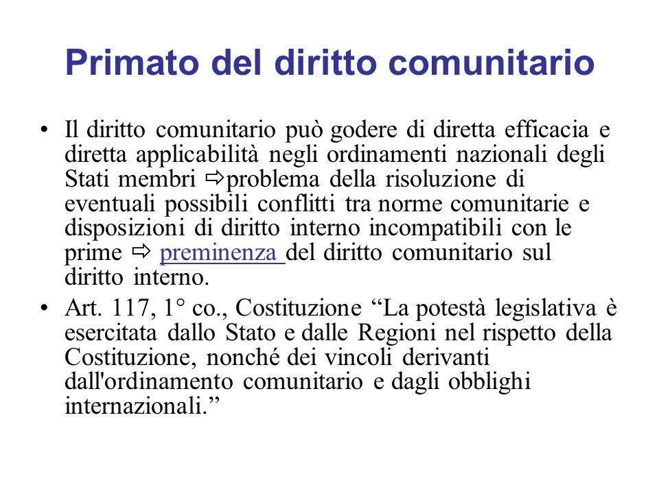 Primato del diritto comunitario Il diritto comunitario può godere di diretta efficacia e diretta applicabilità negli ordinamenti nazionali degli Stati