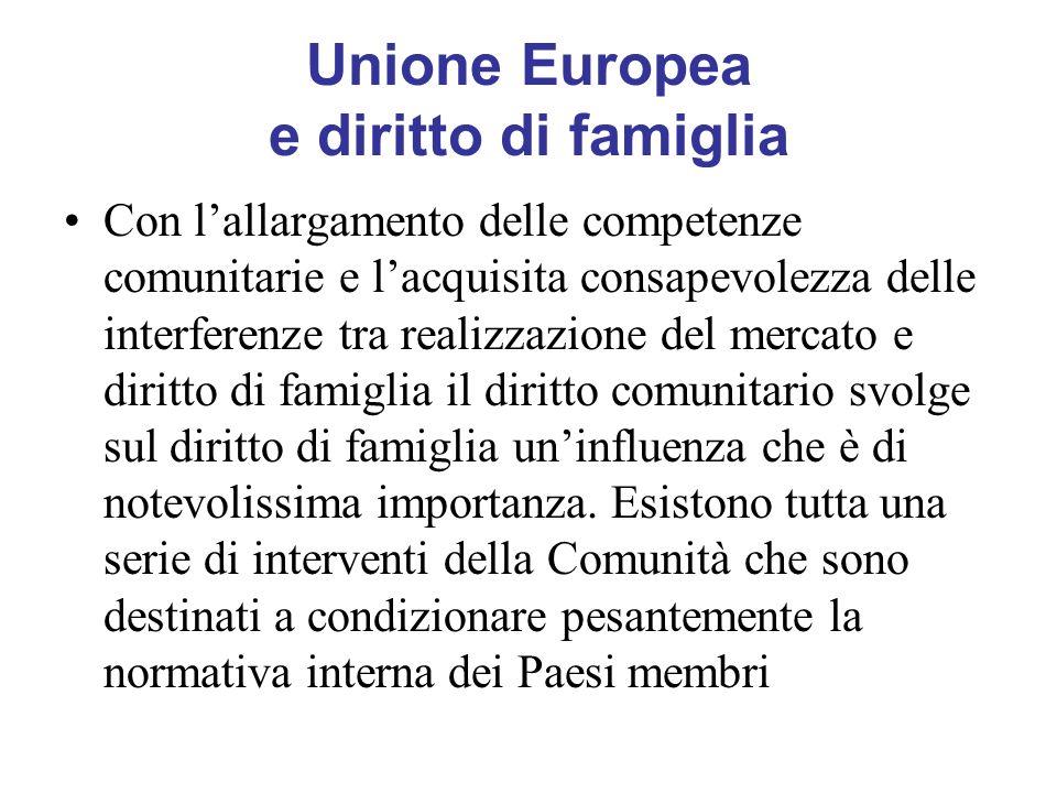 Unione Europea e diritto di famiglia Con lallargamento delle competenze comunitarie e lacquisita consapevolezza delle interferenze tra realizzazione d