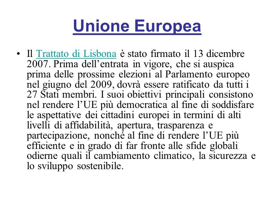 Unione Europea Il Trattato di Lisbona è stato firmato il 13 dicembre 2007. Prima dellentrata in vigore, che si auspica prima delle prossime elezioni a