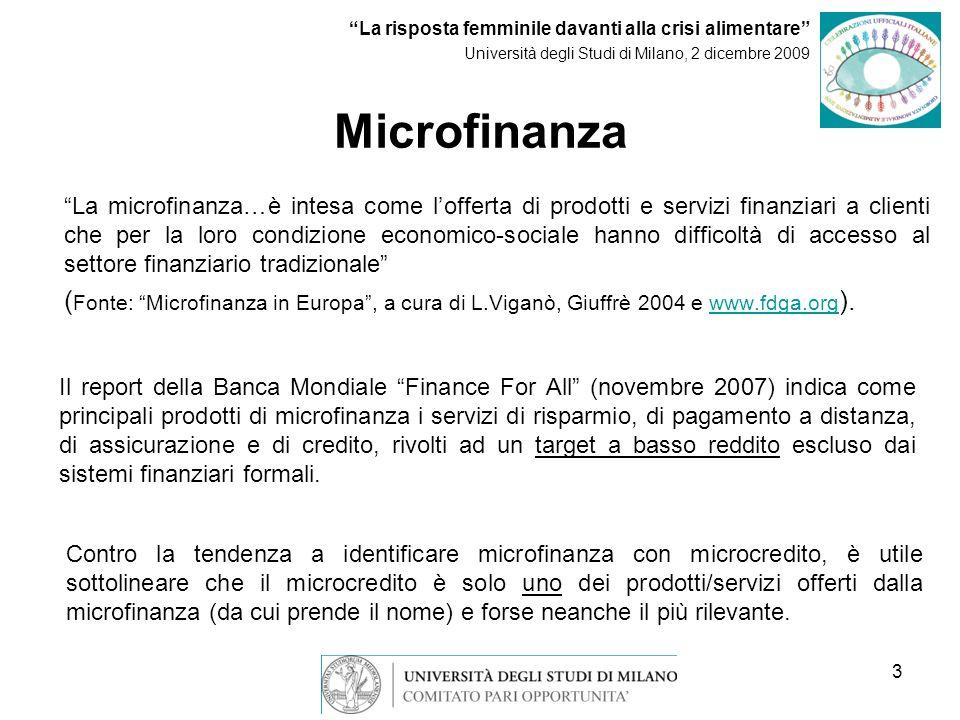 3 Microfinanza La microfinanza…è intesa come lofferta di prodotti e servizi finanziari a clienti che per la loro condizione economico-sociale hanno difficoltà di accesso al settore finanziario tradizionale ( Fonte: Microfinanza in Europa, a cura di L.Viganò, Giuffrè 2004 e www.fdga.org ).www.fdga.org Il report della Banca Mondiale Finance For All (novembre 2007) indica come principali prodotti di microfinanza i servizi di risparmio, di pagamento a distanza, di assicurazione e di credito, rivolti ad un target a basso reddito escluso dai sistemi finanziari formali.