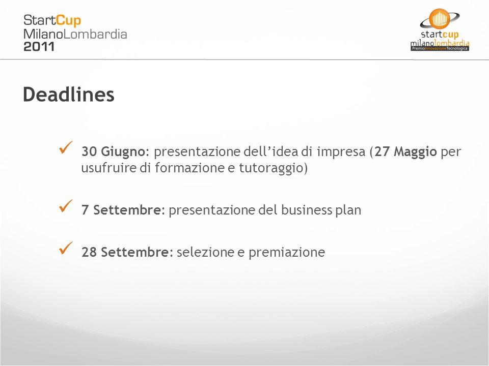 Deadlines 30 Giugno: presentazione dellidea di impresa (27 Maggio per usufruire di formazione e tutoraggio) 7 Settembre: presentazione del business plan 28 Settembre: selezione e premiazione