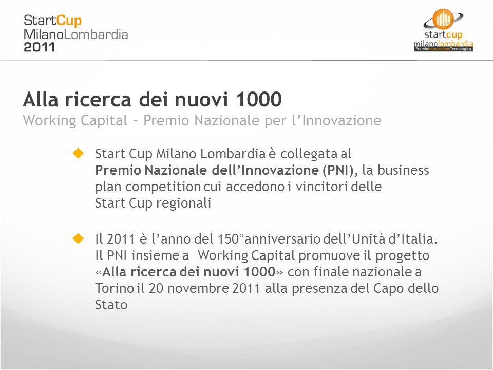 Start Cup Milano Lombardia è collegata al Premio Nazionale dellInnovazione (PNI), la business plan competition cui accedono i vincitori delle Start Cup regionali Il 2011 è lanno del 150°anniversario dellUnità dItalia.