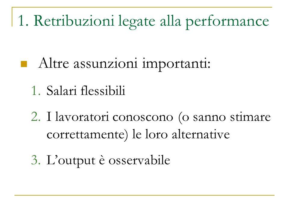 1. Retribuzioni legate alla performance Altre assunzioni importanti: 1.Salari flessibili 2.I lavoratori conoscono (o sanno stimare correttamente) le l