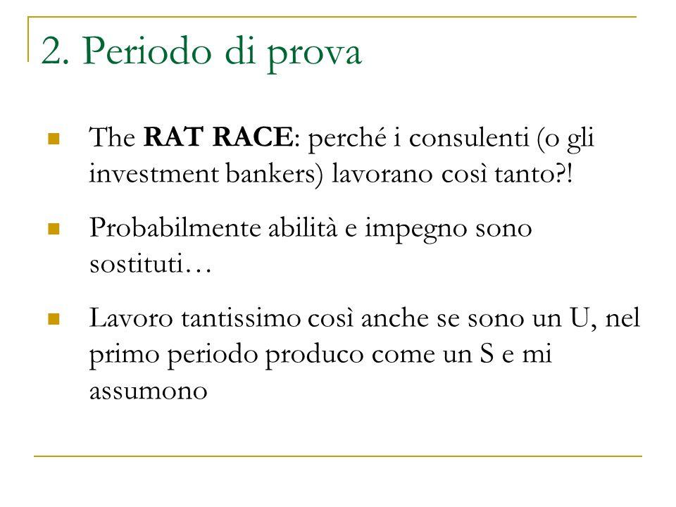 2. Periodo di prova The RAT RACE: perché i consulenti (o gli investment bankers) lavorano così tanto?! Probabilmente abilità e impegno sono sostituti…