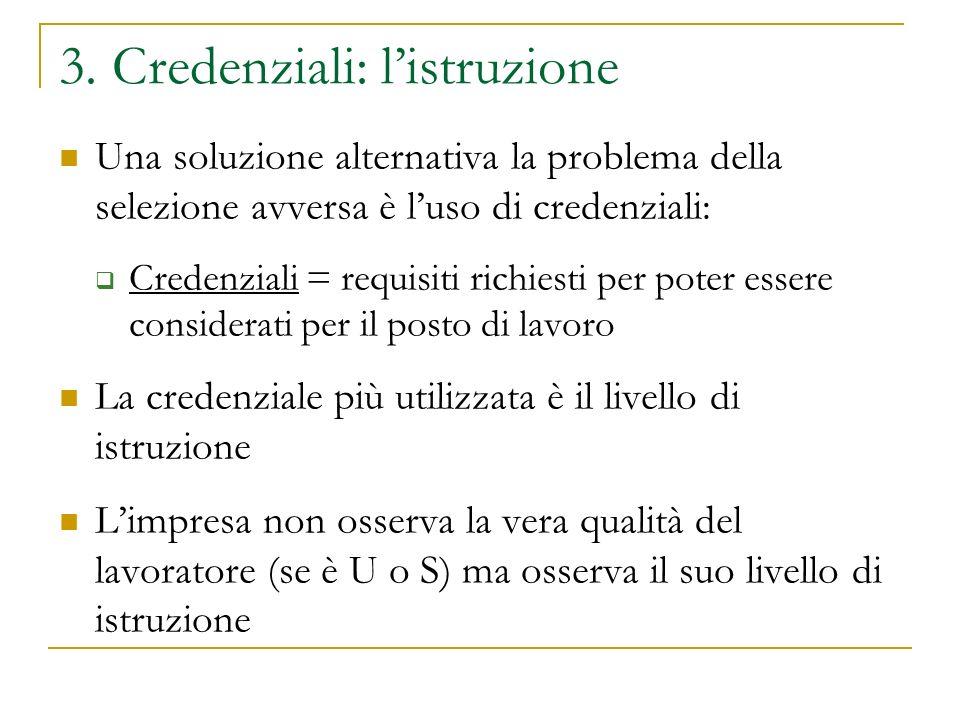 3. Credenziali: listruzione Una soluzione alternativa la problema della selezione avversa è luso di credenziali: Credenziali = requisiti richiesti per