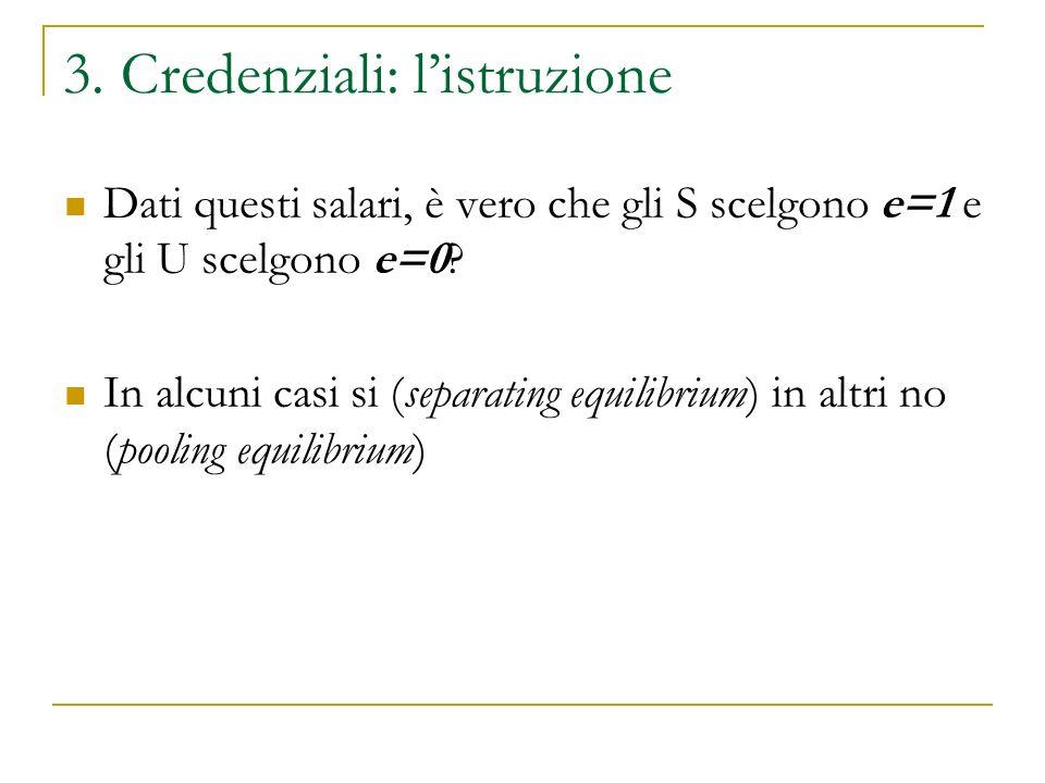 3. Credenziali: listruzione Dati questi salari, è vero che gli S scelgono e=1 e gli U scelgono e=0.