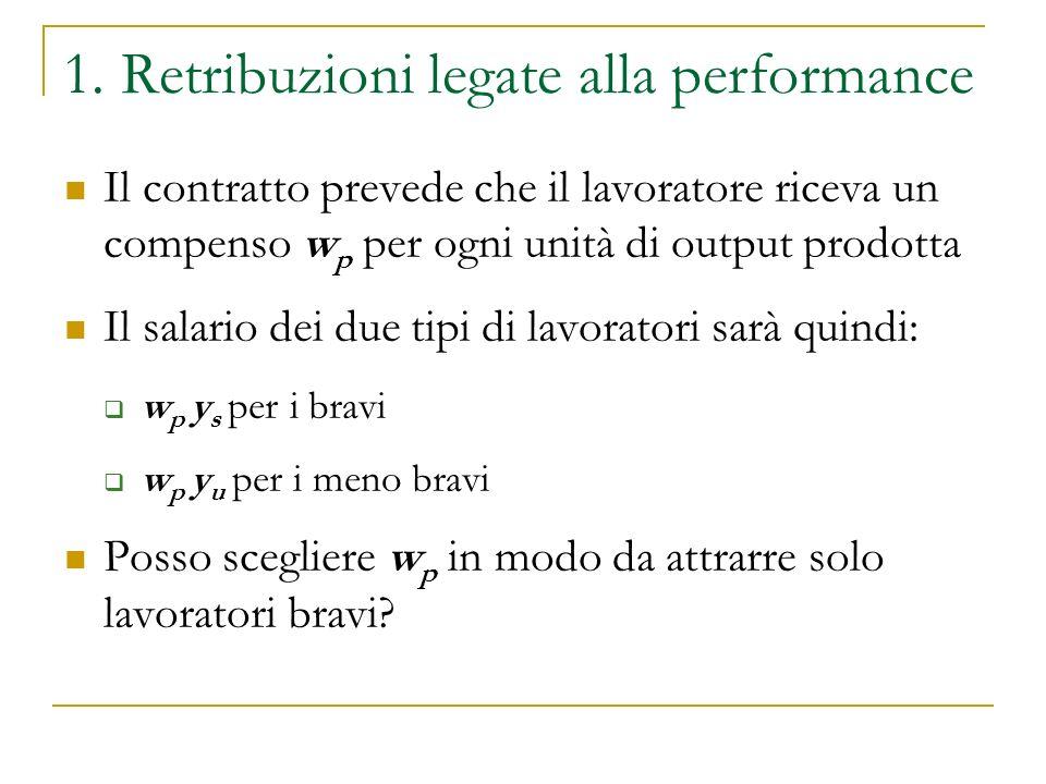 1. Retribuzioni legate alla performance Il contratto prevede che il lavoratore riceva un compenso w p per ogni unità di output prodotta Il salario dei