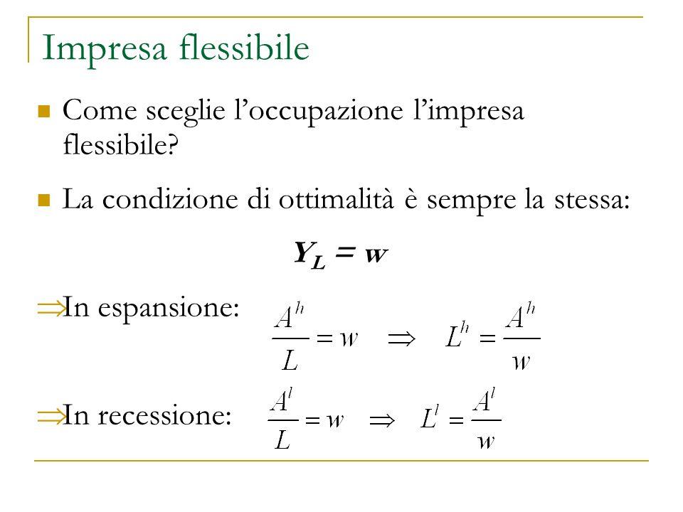 Impresa flessibile: un esempio Fissiamo i seguenti parametri: w = 1 A h = 10 A l = 4 Quanto assume limpresa flessibile in espansione e in recessione.