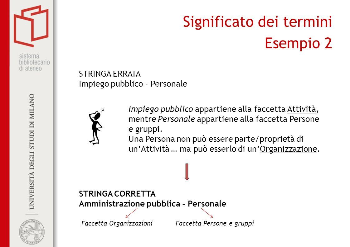 Significato dei termini Esempio 2 STRINGA ERRATA Impiego pubblico - Personale Impiego pubblico appartiene alla faccetta Attività, mentre Personale appartiene alla faccetta Persone e gruppi.