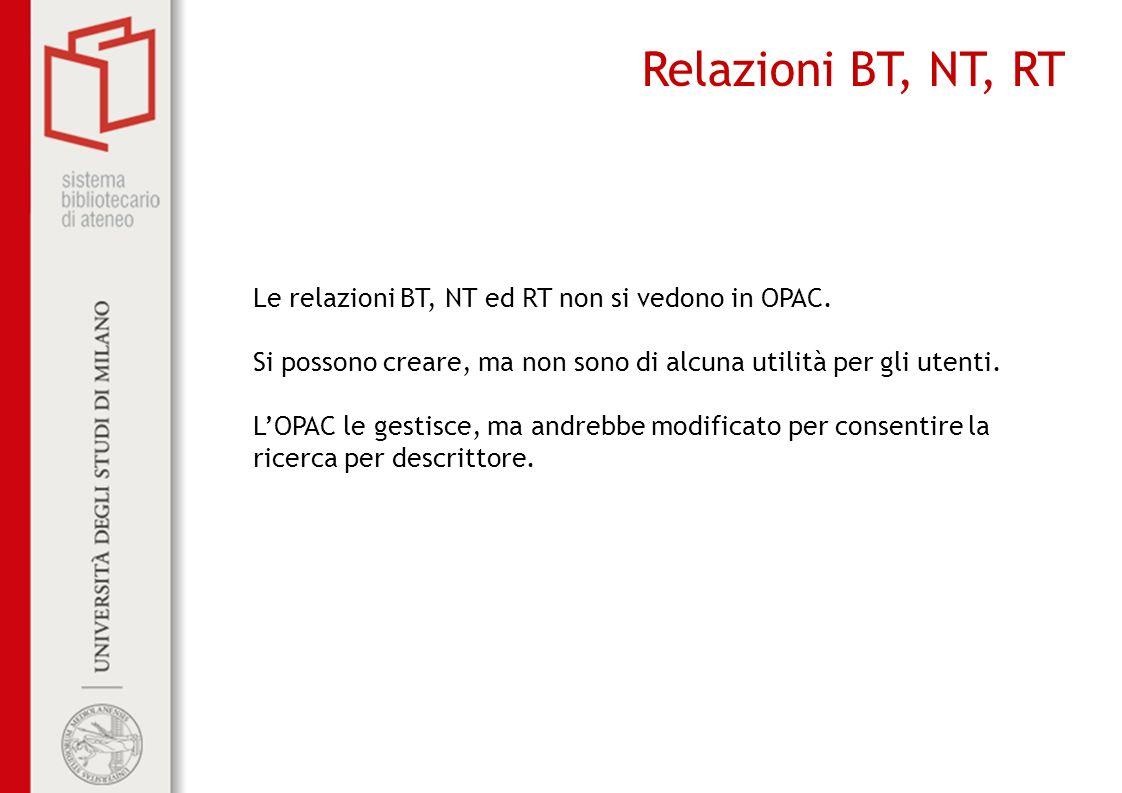 Relazioni BT, NT, RT Le relazioni BT, NT ed RT non si vedono in OPAC.