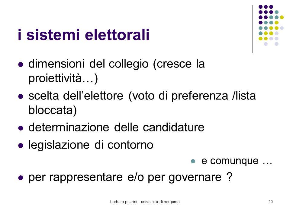 barbara pezzini - università di bergamo10 i sistemi elettorali dimensioni del collegio (cresce la proiettività…) scelta dellelettore (voto di preferen