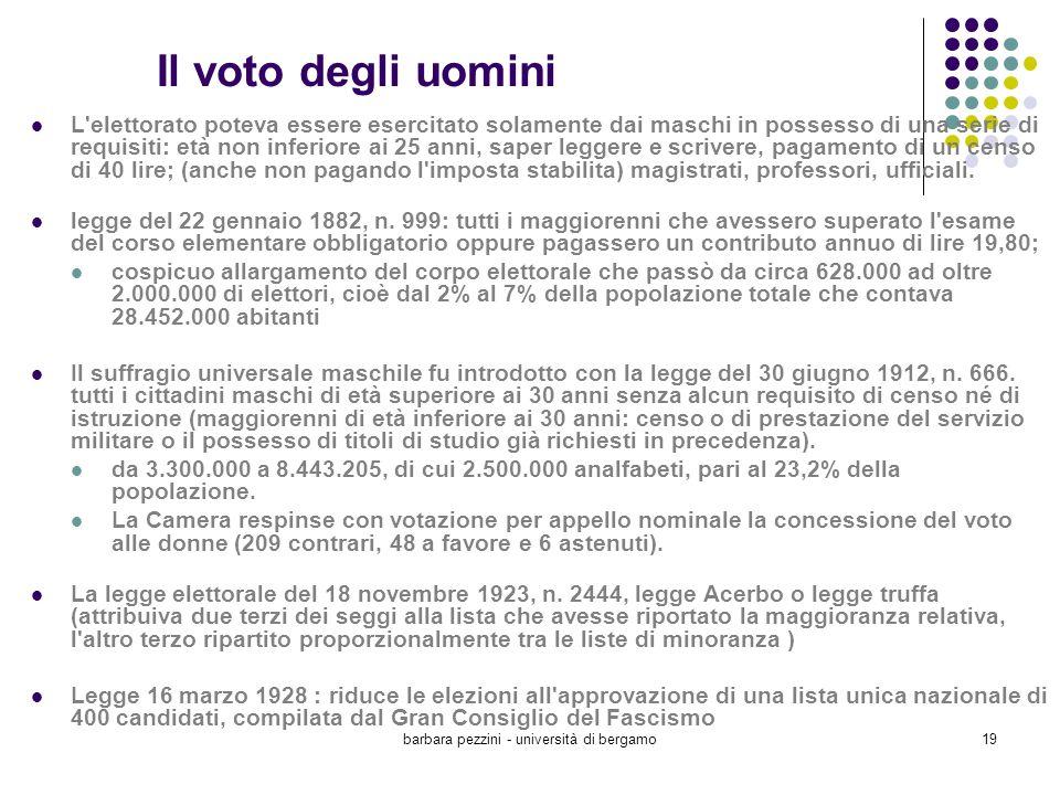 barbara pezzini - università di bergamo19 Il voto degli uomini L'elettorato poteva essere esercitato solamente dai maschi in possesso di una serie di