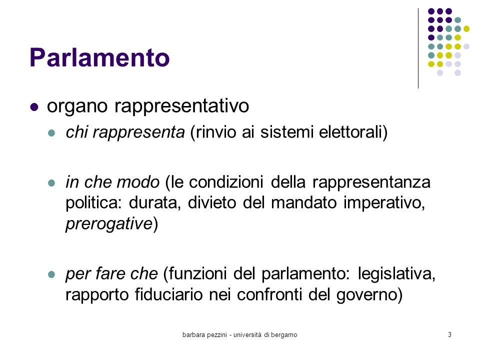 barbara pezzini - università di bergamo3 Parlamento organo rappresentativo chi rappresenta (rinvio ai sistemi elettorali) in che modo (le condizioni d