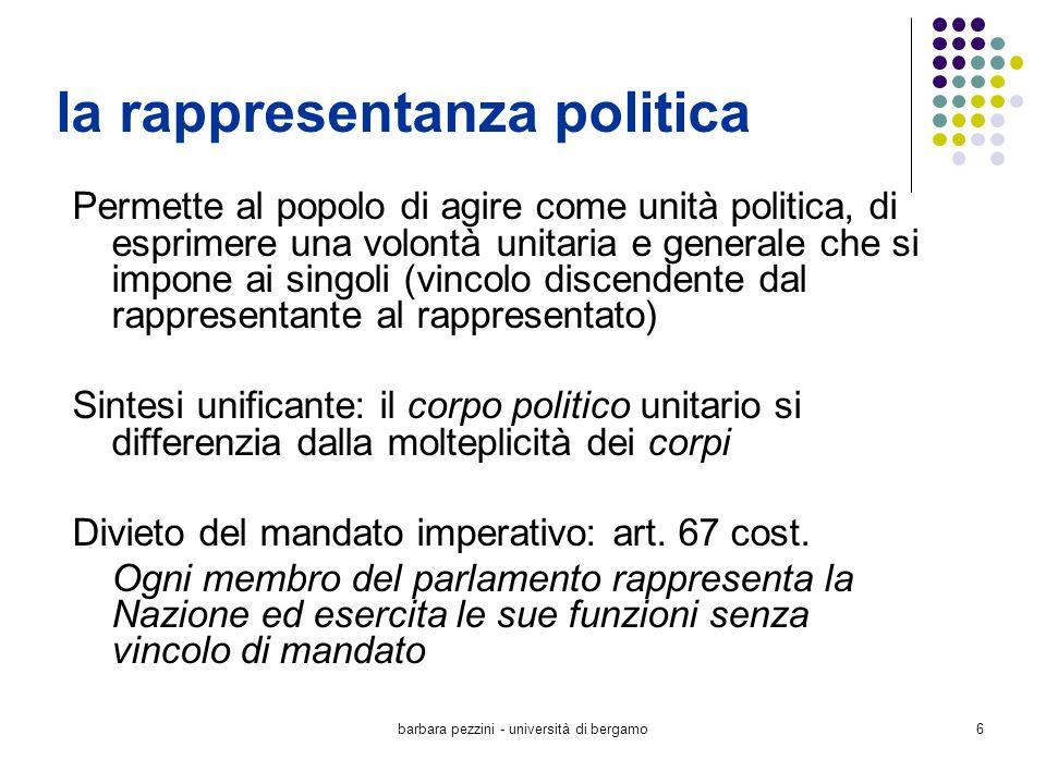 barbara pezzini - università di bergamo6 la rappresentanza politica Permette al popolo di agire come unità politica, di esprimere una volontà unitaria