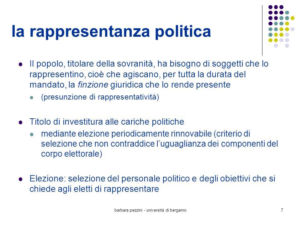 barbara pezzini - università di bergamo7 la rappresentanza politica Il popolo, titolare della sovranità, ha bisogno di soggetti che lo rappresentino,