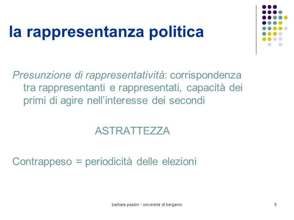 barbara pezzini - università di bergamo8 la rappresentanza politica Presunzione di rappresentatività: corrispondenza tra rappresentanti e rappresentat