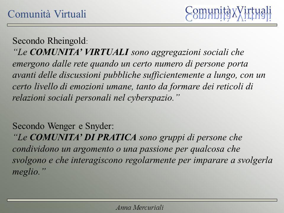 Anna Mercuriali Comunità Virtuali Secondo Rheingold : Le COMUNITA VIRTUALI sono aggregazioni sociali che emergono dalle rete quando un certo numero di persone porta avanti delle discussioni pubbliche sufficientemente a lungo, con un certo livello di emozioni umane, tanto da formare dei reticoli di relazioni sociali personali nel cyberspazio.