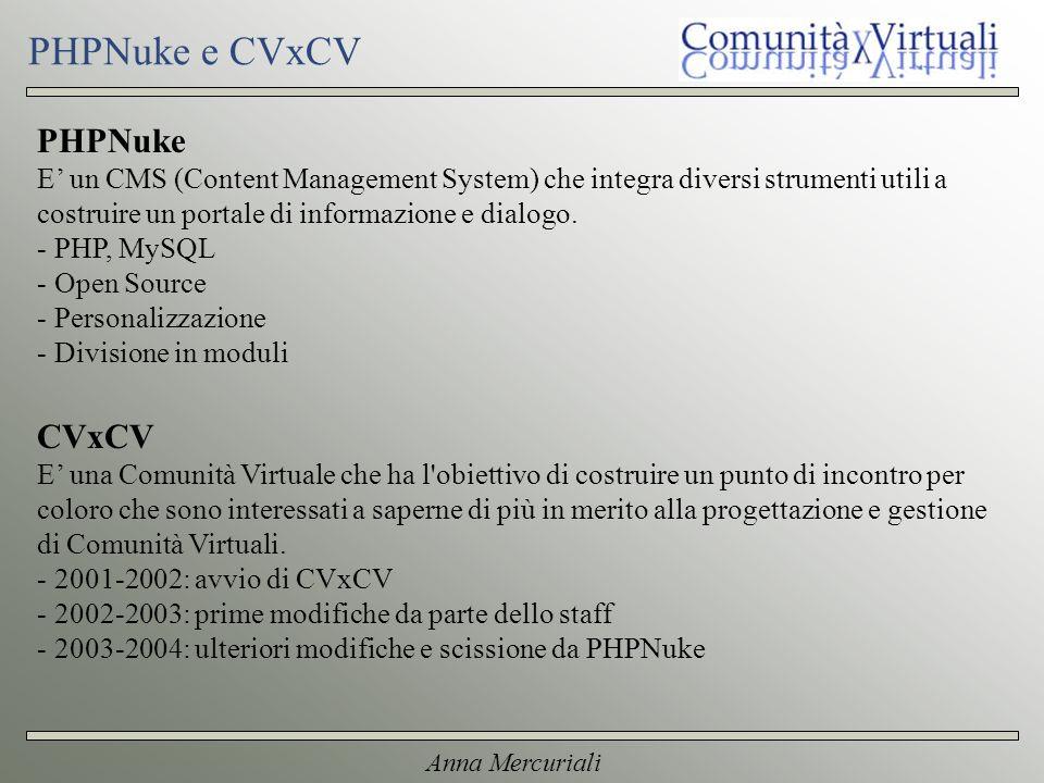 Anna Mercuriali PHPNuke e CVxCV PHPNuke E un CMS (Content Management System) che integra diversi strumenti utili a costruire un portale di informazione e dialogo.