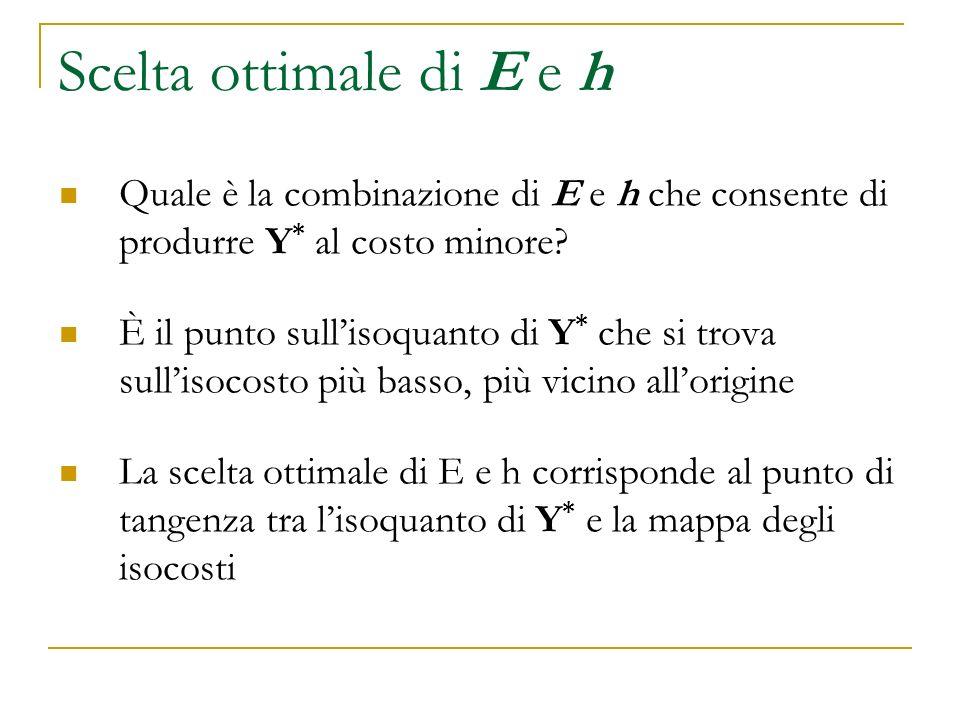 Scelta ottimale di E e h Quale è la combinazione di E e h che consente di produrre Y * al costo minore? È il punto sullisoquanto di Y * che si trova s