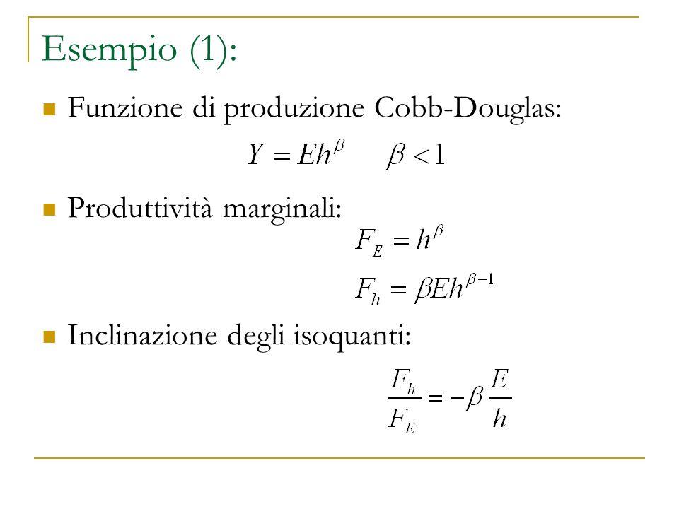 Esempio (1): Funzione di produzione Cobb-Douglas: Produttività marginali: Inclinazione degli isoquanti: