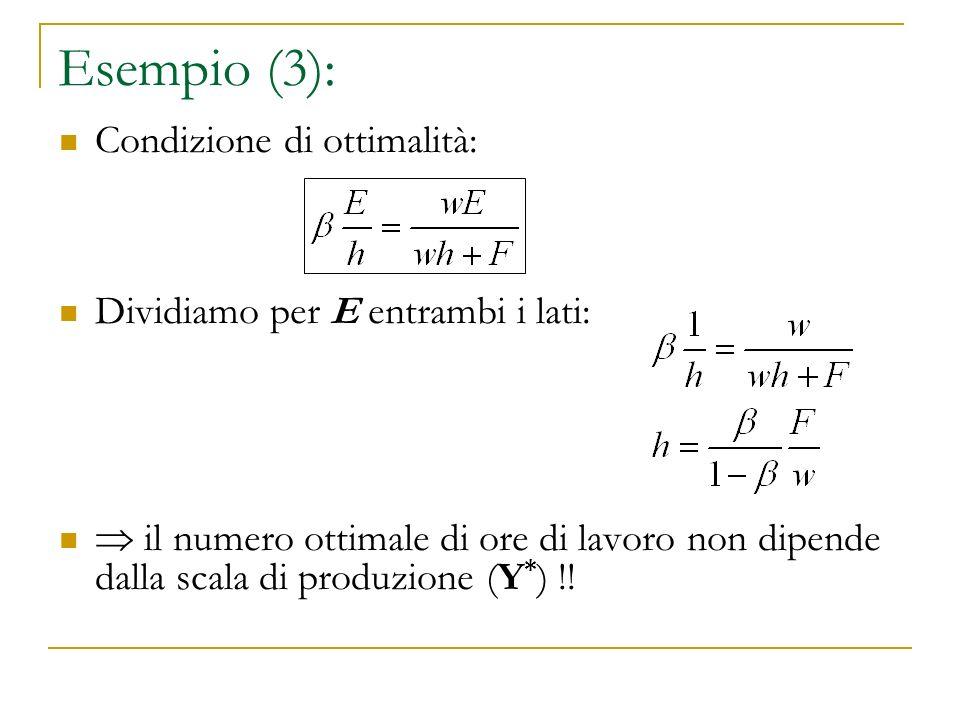 Esempio (3): Condizione di ottimalità: Dividiamo per E entrambi i lati: il numero ottimale di ore di lavoro non dipende dalla scala di produzione (Y *