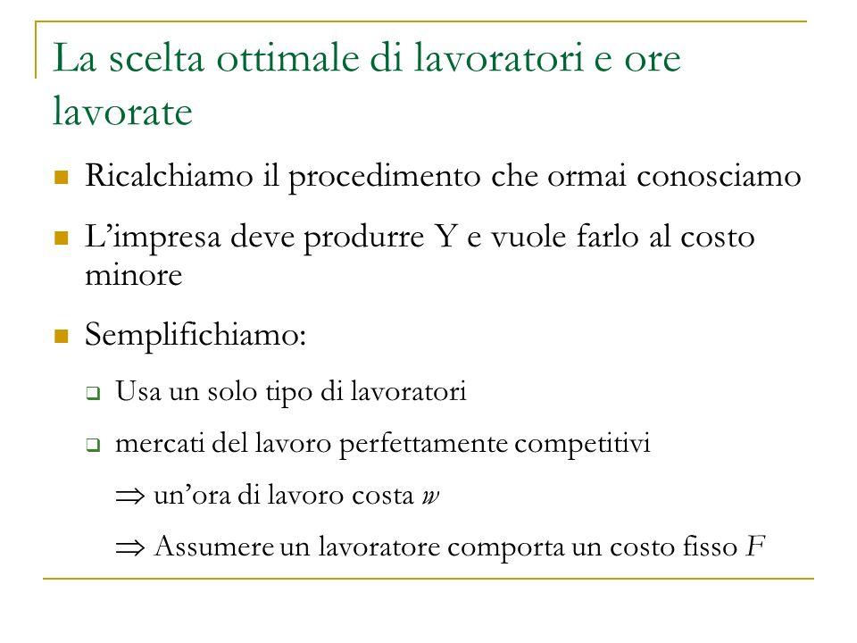 Ricalchiamo il procedimento che ormai conosciamo Limpresa deve produrre Y e vuole farlo al costo minore Semplifichiamo: Usa un solo tipo di lavoratori