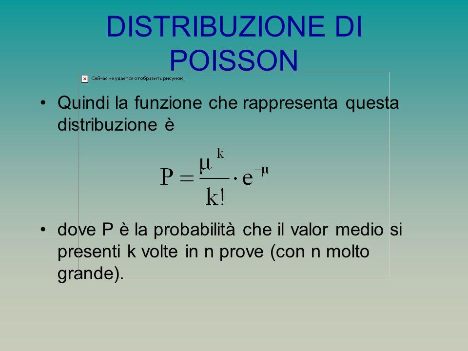 DISTRIBUZIONE DI POISSON Quindi la funzione che rappresenta questa distribuzione è dove P è la probabilità che il valor medio si presenti k volte in n prove (con n molto grande).
