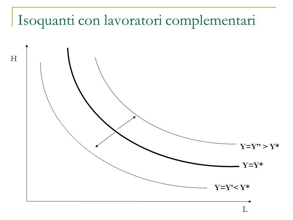 Isoquanti con lavoratori complementari H L Y=Y* Y=Y< Y* Y=Y > Y*