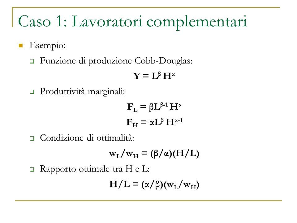 Caso 1: Lavoratori complementari Esempio: Funzione di produzione Cobb-Douglas: Y = L β H α Produttività marginali: F L = βL β-1 H α F H = αL β H α-1 Condizione di ottimalità: w L /w H = (β/α)(H/L) Rapporto ottimale tra H e L: H/L = (α/β)(w L /w H )
