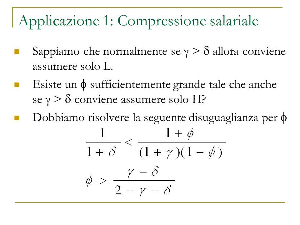 Applicazione 1: Compressione salariale Sappiamo che normalmente se γ > allora conviene assumere solo L. Esiste un sufficientemente grande tale che anc