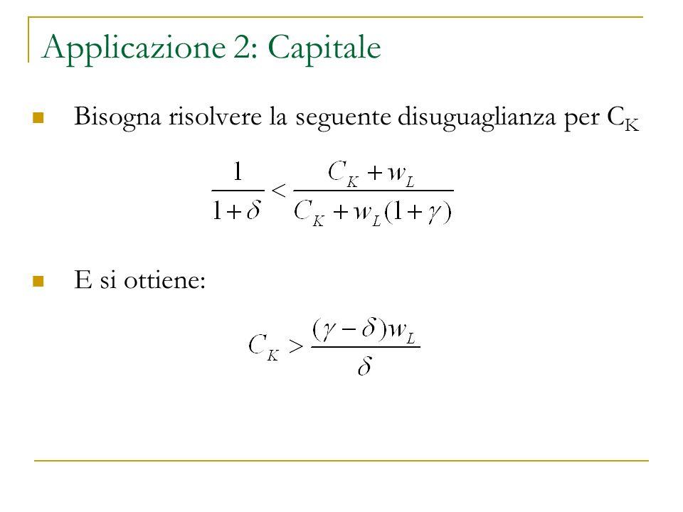 Applicazione 2: Capitale Bisogna risolvere la seguente disuguaglianza per C K E si ottiene: