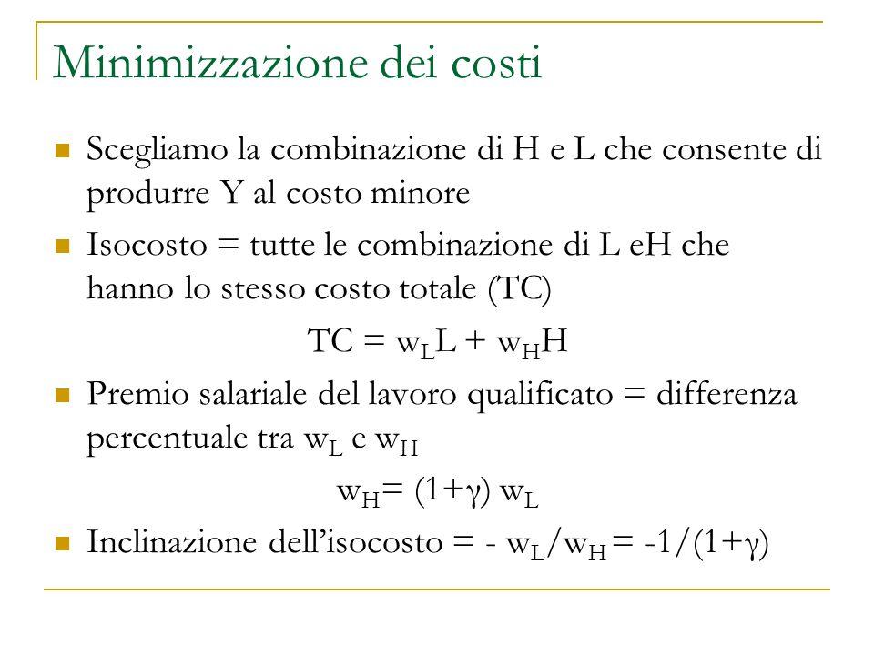 Minimizzazione dei costi Scegliamo la combinazione di H e L che consente di produrre Y al costo minore Isocosto = tutte le combinazione di L eH che hanno lo stesso costo totale (TC) TC = w L L + w H H Premio salariale del lavoro qualificato = differenza percentuale tra w L e w H w H = (1+γ) w L Inclinazione dellisocosto = - w L /w H = -1/(1+γ)
