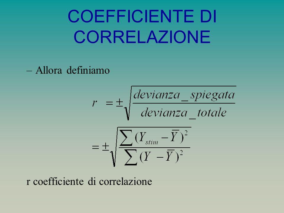 COEFFICIENTE DI CORRELAZIONE –Allora definiamo r coefficiente di correlazione