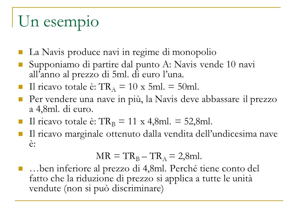 Un esempio (2) Lanno successivo la Navis vuole arrivare a 12 navi Questo significa ridurre ulteriormente il prezzo a 4,6ml.