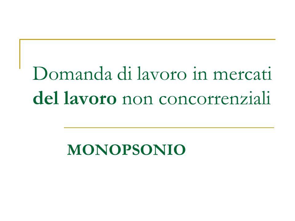 Il Monopsonio Che cosa è un monopsonio.